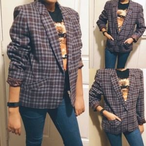 Pendleton Gray  Plaid One Button 100% Wool Blazer